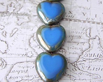 Blue Heart Beads, Heart Beads, Czech Beads, Heart Jewelry, Heart Pendant, Bead Supplies cgb79001
