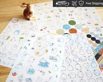 Molang Sticker V2 Stickers Diary Scrapbook Deco Calendar Label Crafts 6 sheets paper bag sticker Embellishments weekly kit - B0325-KS-SA-120