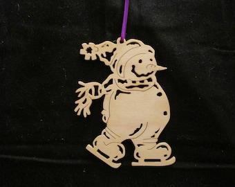 DavesSawdustFactory, christmas, ornaments, woodworking, christmas ornament, handmade, scrollsaw, snowman ornament, snowman, gift