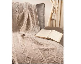 Beige merino wool blanket, wool bedspread, knit bed throw, knitted bed spread, knitted blanket, beige blanket, sofa throw, aran blanket