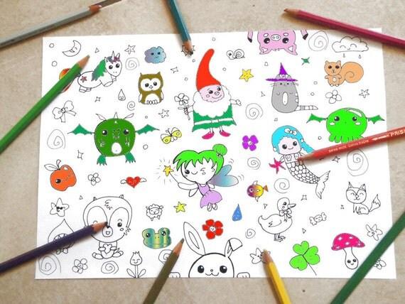 Kawaii disegno da colorare bambini favole carini fata chtulhu for Disegni facili kawaii