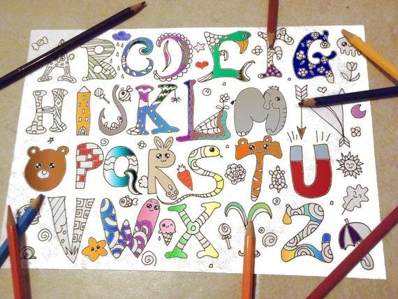 Pagina da colorare bambini alfabeto kawaii baby scuola lettere for Immagini disegni kawaii