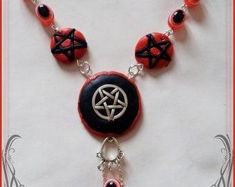 Red and black pentagram necklace