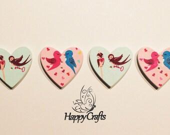 Wooden Heart Love Bird Fridge Magnets Set of 4
