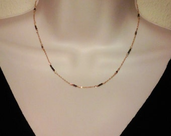 Pyrite gold necklace, station, delicate, 14k gold fill, 14k rose gold, satellite chain, tiny, pyrite, beaded chain, minimalist, modern