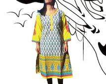 Bohemian  Kurti, Tunic Dress,  Indian Kurta, Embroidered dres, boho hipi dress, galabia, Boho Festival Outfit, Gypsy Fashion, Coachella 2016