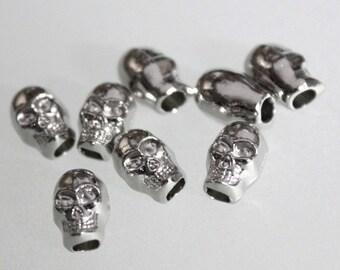 20pcs--Skull Beads, Silver Tone, 9x6mm (B3-12)