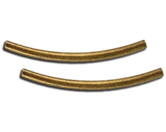 25pcs--Metal beads, 2x32mm, curved tube, antique brass (B54-6)