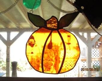 Pumpkin stained glass suncatcher