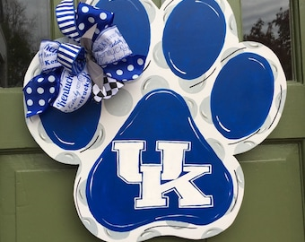Uk Go Big Blue Paw Print Door Hanger