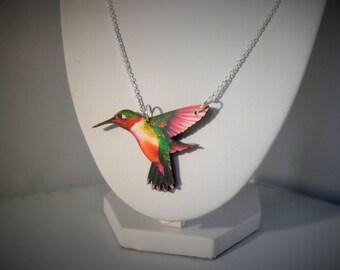 small hummingbird necklace devine kitsh tatty woodcut lasercut retro
