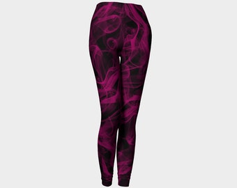 Burgundy Leggings, Black Yoga Leggins, Abstract, Red Purple Tights, Purple Leggings, Printed Leggings, Womens Clothing, Smoky Design