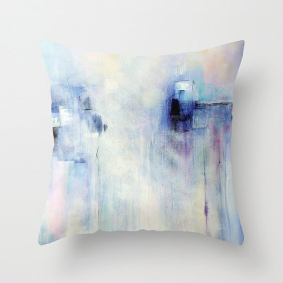 Lavender And White Throw Pillow : Blue Pillow Cover White Lavender Purple Pillow Abstract