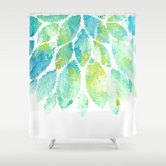 Blue And Yellow Bathroom Decor: Turquoise Shower Curtain Mint Yellow Blue And By