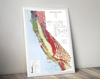 California Map | Geologic Map of California | Colorful California Map | California Wall Map | California Decor | Colorful Wall Art