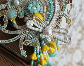 "Soutache necklace ""White Dragonfly"". Handmade.Mint and yellow."