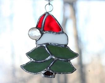 Handmade Stained Glass Christmas Tree Suncatcher