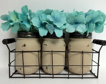 Wire Basket  - Painted & Distressed Mason Jars - Table Centerpiece - Rustic Home Decor - Farmhouse Style - Country Decor