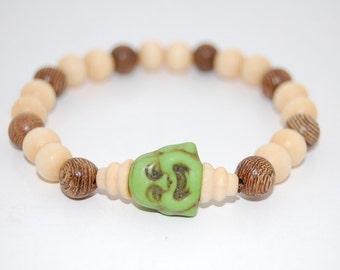 Buddha Bracelet,Buddha Head,Wood Beads,Stretch Bracelet,Men,Women,Wood Beaded,Yoga Bracelet, Pray,Good Luck,Protection, Meditation , Stretch