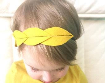 Mustard Felt Leaf Headband