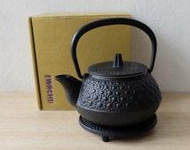 Japanese Cast Iron Teapot With Tea Strainer and Trivet, Nambu Tekki Tetsubin Kettle,  Black Kettle Black Teapot