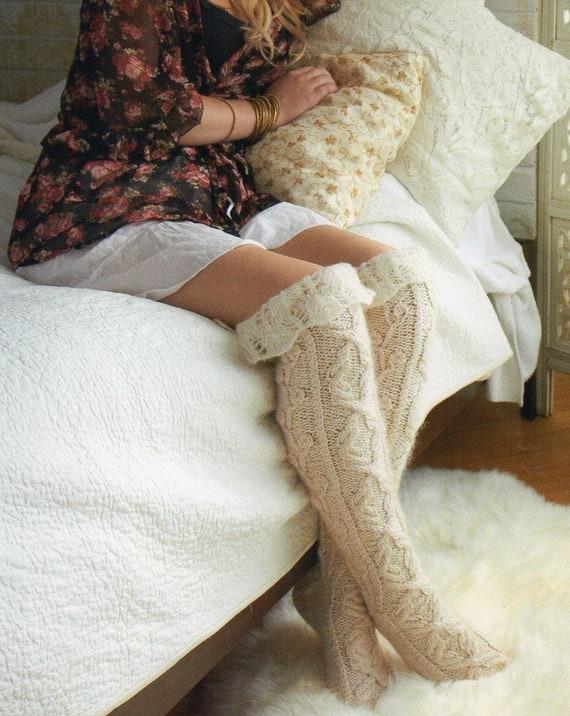 Thigh High Stockings Socks Knitting Pattern by PatternMuseum