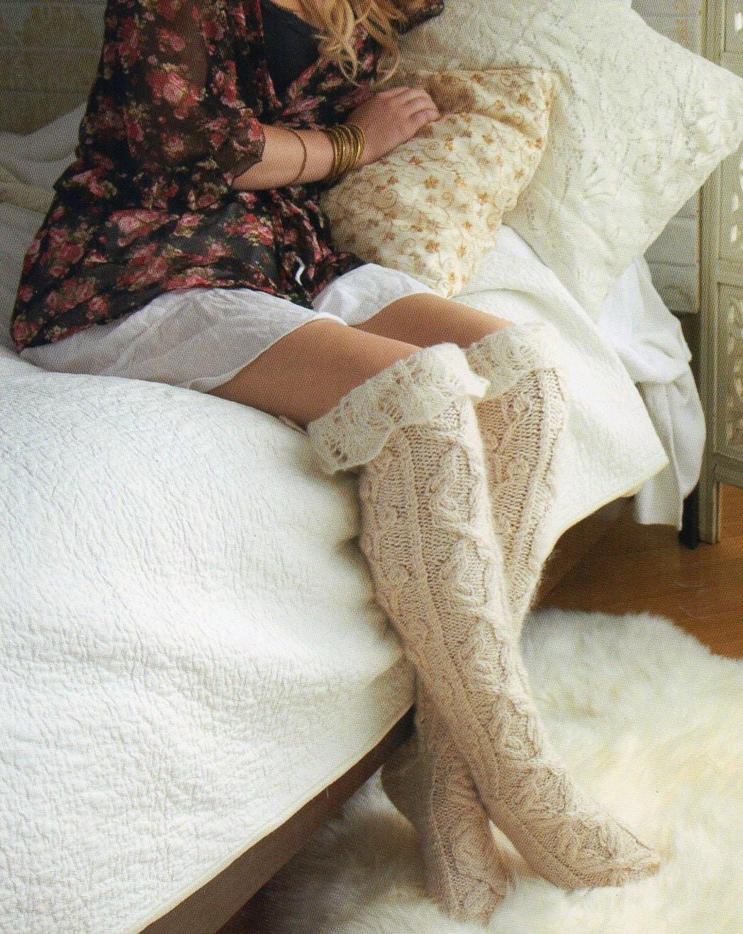 Sexy Knitting Patterns : Thigh High Stockings Socks Knitting Pattern by PatternMuseum
