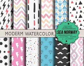 MODERM WATERCOLO Digital paper, hipster patterns, instant downlad, scrapbookng , 300 DPI 12 x 12 inch / 388