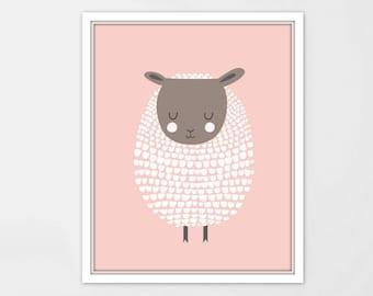 Pink Sheep Print, pink Sheep Art, Lamb Print, Lamb Art, Sheep Nursery Art, Sheep Kids Art, Barnyard Art, Sheep Illustration