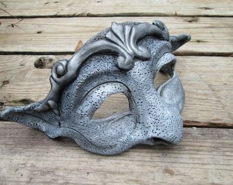 costume Gargoyle mask, masquerade mask, silver and grey, larp, mask with ears, adorable, cute
