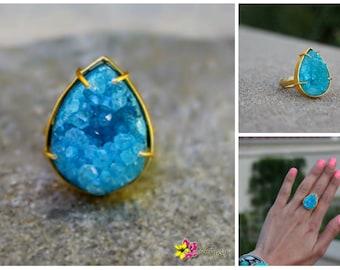 Ocean Blue Druzy Dream Gold Color Metal Sasha Ring