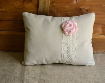 Flower Pillow Pink Peony Accent Pillow Linen and Lace Shabby Chic Pink Home Decor Pillow Nursery Canvas