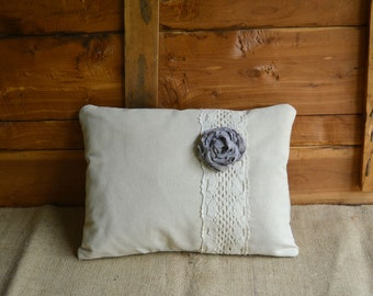 Accent Pillow Grey Flower Linen and Lace Bedding Farmhouse Home Decor Rustic Toss Pillow Peony Flower Handmade Gift