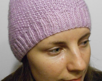 Lilac knitted hat - women's knitted hat - angora yarn hat - beanie hat