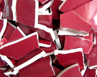 50 Red Mosaic Tiles, Broken Dish Pieces for Mosaic