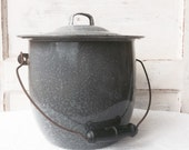 SALE Vintage Gray Enamelware GRANITEWARE Pot with Lid