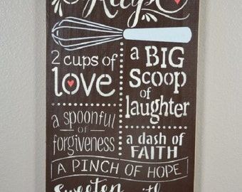 "Family Recipe, 12""x24"", Rustic Sign"