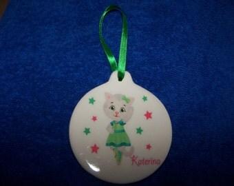 Katerina Kitty~Daniel's Neighborhood~Christmas Ornament~Porcelain~Green and Pink
