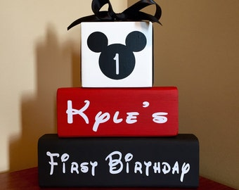 Mickey Mouse Birthday Minnie Mouse Birthday Wood Blocks Decor Sign **Sale Mickey Mouse Sale**