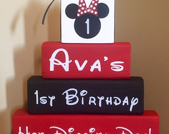 Minnie Mouse Birthday Sign Wood Block Set Mickey Mouse Decor  **Special Mickey Mouse Sale**