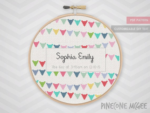 Baby Bunting Announcement Counted Cross Stitch By