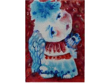 Original art, Folk Art, angel painting, ACEO painting, folk art angel, abstract angel, angel art, primitive art, angel figure, fantasy angel