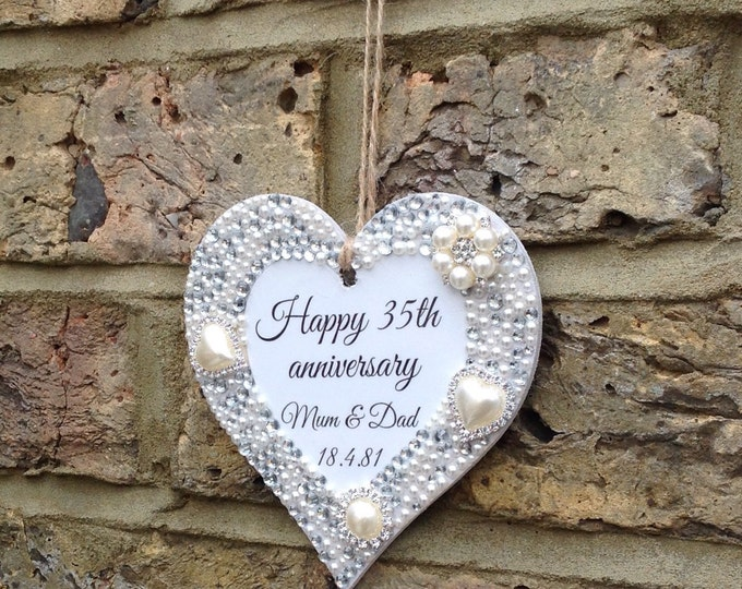 Personalised hanging heart with pearls & crystals. Great gift for Wedding gift | Anniversary | Christmas gift | Birthday gift | Embellished