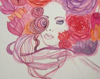 "Watercolor ""flower eyes"" handmade  trippy decor"