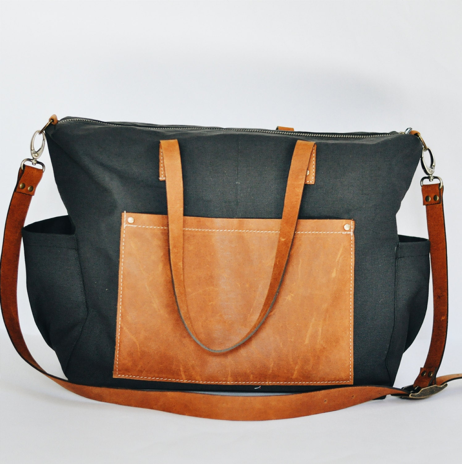 Reserved Black With Caramel Leather Diaper Bag