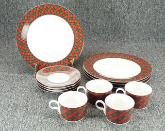 Vintage Arita Tartan Plaid Pattern Cup Saucer And Dinner Plates 12 Piece Set