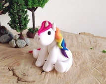Rainbow Unicorn, Rainbow Unicorn Party, Rainbow Unicorn Birthday, Rainbow Unicorn Cake Topper - White Clay Unicorn