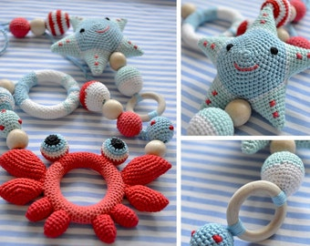 Marine necklace, Ring Teether, rattle star, Teether crab, Organic Nursing necklace, natural Teether, necklace for feeding, teething