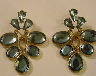 Large Dangle Caribbean  Green Crystal Look Pierced Earrings