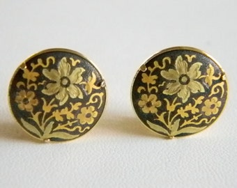 Round Button Style Damascene Black  Gold Tone Clip Earrings